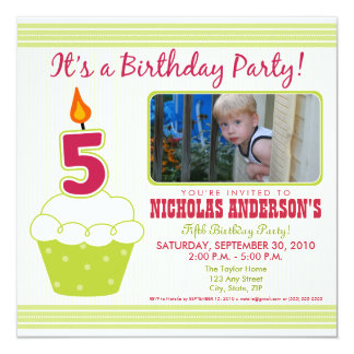 Sweet Cupcake 5th Birthday Party Invitation Lime