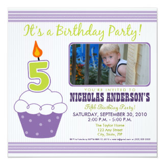 Sweet Cupcake 5th Birthday Party Invitation Purple