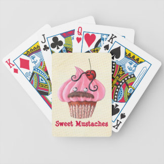 Sweet Cupcake and Mustaches Bicycle Playing Cards