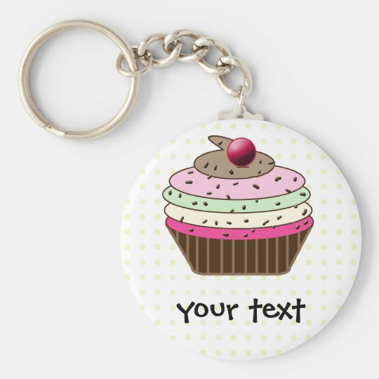 Sweet Cupcake Basic Round Button Key Ring
