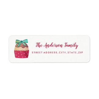Sweet Cupcake Christmas Return Address Label