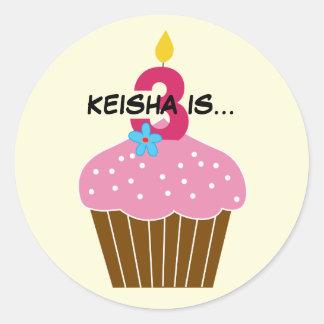 Sweet Cupcake Third Birthday Sticker