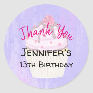 Sweet Cupcake with Raspberry on Top Birthday Classic Round Sticker