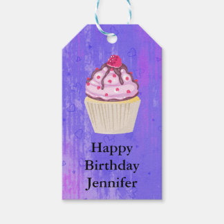 Sweet Cupcake with Raspberry on Top Birthday Gift Tags