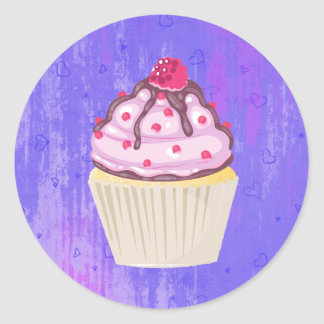 Sweet Cupcake with Raspberry on Top Classic Round Sticker