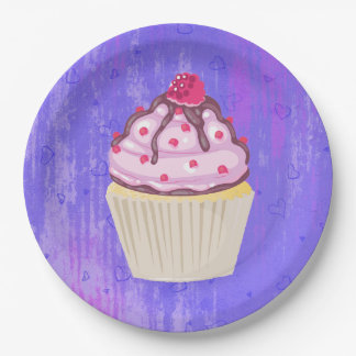 Sweet Cupcake with Raspberry on Top Paper Plate
