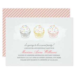 Sweet Cupcakes Birthday Party Invite