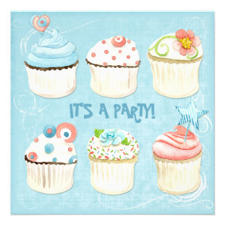 Sweet Cupcakes - It s a Party Bday Invitation
