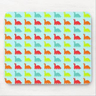 Sweet Cute colorful Dinosaurs on blue background Mouse Mat