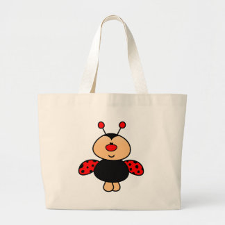 sweet cute ladybug large tote bag
