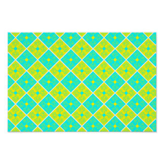 sweet cyan & yellow flower pattern poster