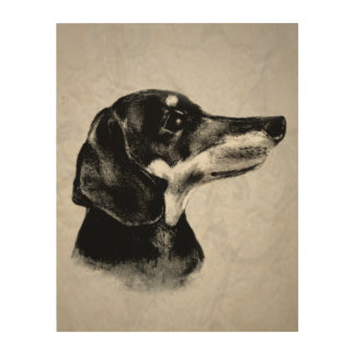 Sweet Dachshund Portrait Wood Prints