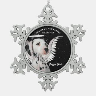 Sweet Dalmatian Angel Dog Pet Memorial Christmas Pewter Snowflake Decoration