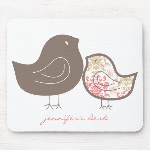 Sweet Damask Chicks Fun Pattern Custom Mousepad