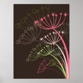 Sweet Dandelions Pink Floral Flower Poster
