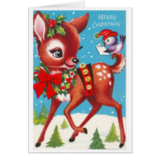 Sweet Deer Vintage Card
