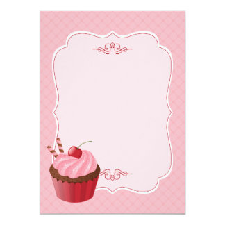Sweet Delicious Cherry Cupcake Pink Blank 5x7 Paper Invitation Card