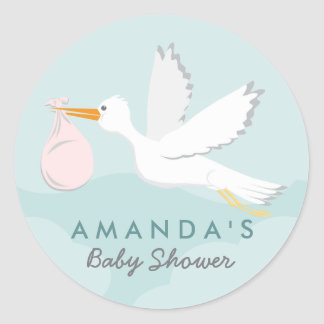 Sweet Delivery Stork Baby Shower Sticker