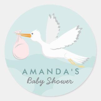 Sweet Delivery Stork Baby Shower Sticker