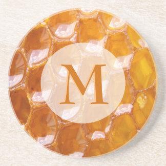 Sweet Detail of Golden Honeycomb Monogrammed Coaster