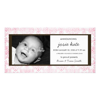 Sweet Distressed Pink Lace Birth Announcement Personalized Photo Card