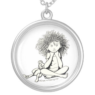 sweet doodle round pendant necklace