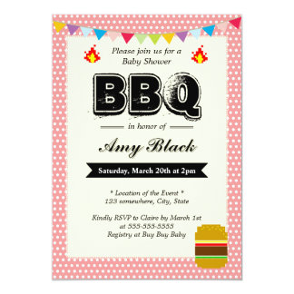 Sweet Dots Pink Baby Shower BBQ Party Invitations