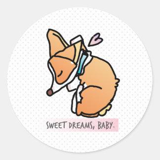 sweet dreams, corgi baby round sticker