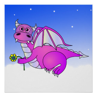 Sweet Dreams - Cute Purple Dragon with Flower Poster