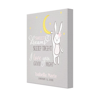 """Sweet Dreams"" Girl Bunny Nursery Print"