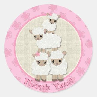 Sweet Dreams LAMB Baby Shower SDK#4B THANK YOU Round Sticker