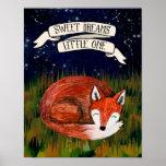 Sweet Dreams Little One - Sleeping Fox Nursery Art Poster