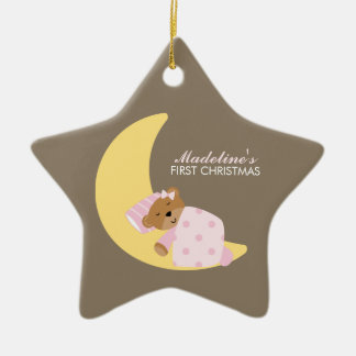 Sweet Dreams Lullaby Girl Baby's First Christmas Ceramic Star Decoration