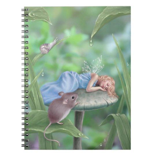Sweet Dreams Sleeping Fairy on Mushroom Notebook