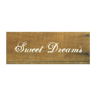 Sweet Dreams Vintage Inspired Old Wooden Sign Gallery Wrapped Canvas