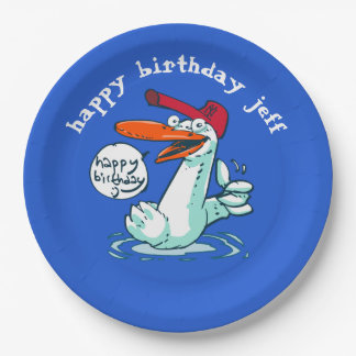sweet duck on the lake cartoon 9 inch paper plate