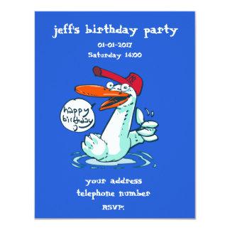 sweet duck on the lake cartoon happy birthday card