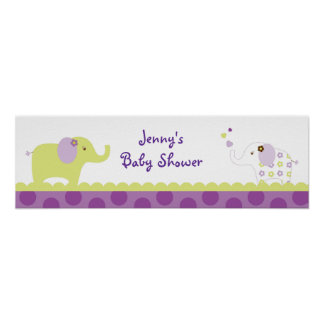 Sweet Elephant Baby Shower Banner Sign Poster