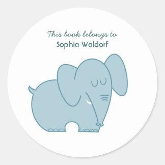 Sweet Elephant (Blue) Round Sticker