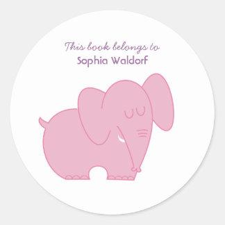 Sweet Elephant (Pink) Round Sticker