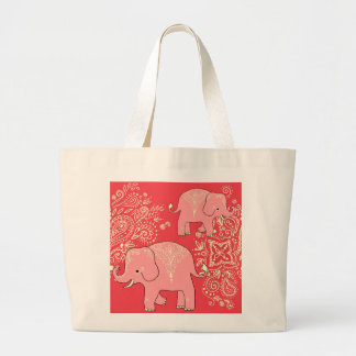 Sweet Elephants jumbo canvas tote bag