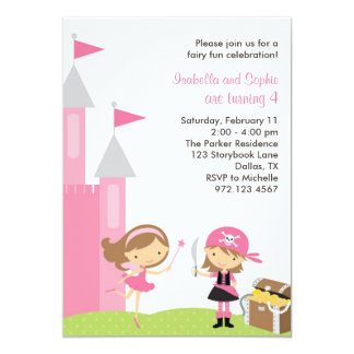 Sweet Fairy and Pink Pirate Invitation