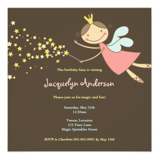 Sweet Fairy and Stars 2 Birthday Photo Invitation Personalized Announcements