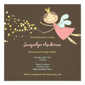 Sweet Fairy and Stars 2 Birthday Photo Invitation