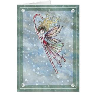 Sweet Fairy Candy Cane Christmas Card