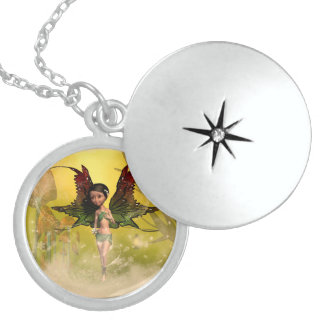 Sweet fairy with mystical background pendants