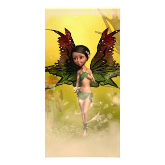 Sweet fairy with mystical background personalized photo card