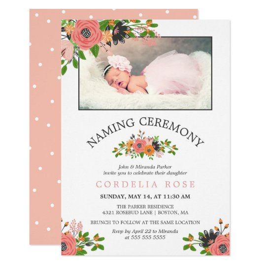 Sweet fall flowers naming ceremony photo invitation zazzle sweet fall flowers naming ceremony photo invitation m4hsunfo