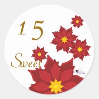 Sweet Fifteen December s Birth Flower-Cuctomize Round Stickers