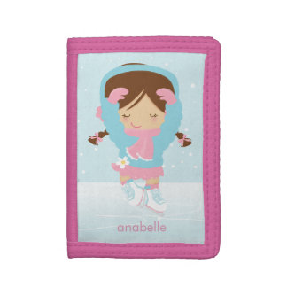 Sweet Figure Skating Girl Trifold Wallet